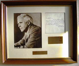 AUTOGRAPH LETTER SIGNED matted and framed with a portrait and two brass plaques. Robert FROST