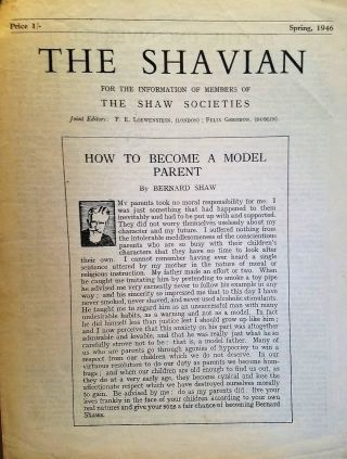 HOW TO BECOME A MODEL PARENT in THE SHAVIAN. George Bernard SHAW