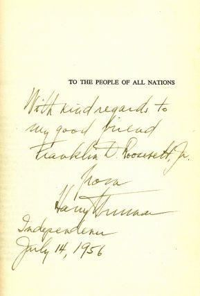 MEMOIRS. YEARS OF TRIAL AND HOPE. Inscribed to Franklin Delano Roosevelt, Jr. Harry TRUMAN