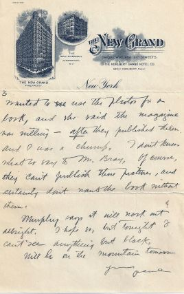 AUTOGRAPH LETTER SIGNED (ALS) to his wife. Zane GREY