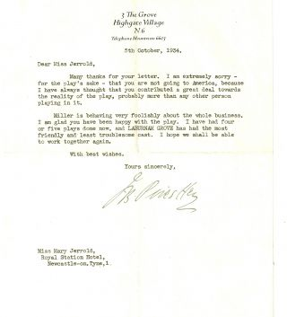 TYPED LETTER SIGNED (TLS) to actress Mary Jerrold. J. B. PRIESTLEY