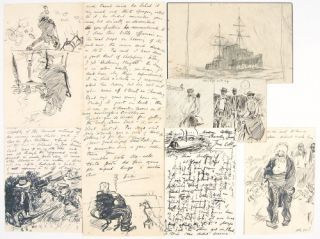 LARGE ARCHIVE OF CORRESPONDENCE WITH MANY ORIGINAL DRAWINGS all to fellow artist ARTHUR BENTLEY...