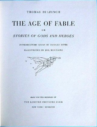 THE AGE OF FABLE. Thomas BULFINCH