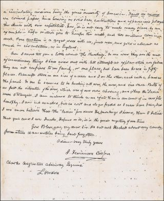"AUTOGRAPH LETTER SIGNED (ALS): ""I regard New York as the most remarkable town in the world"" James..."
