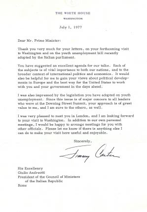 TYPED LETTER SIGNED (TLS) as President to the Prime Minister of Italy. Jimmy CARTER