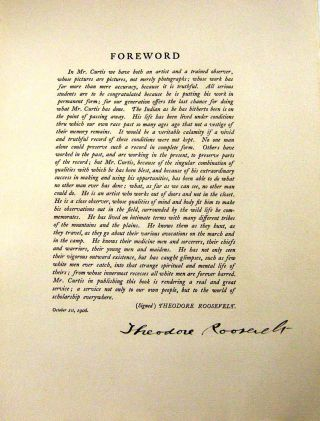 DOCUMENT SIGNED [Foreword from Curtis's THE NORTH AMERICAN INDIAN]. Theodore ROOSEVELT, Teddy,...
