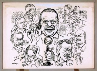 "ORIGINAL PEN AND INK DRAWING TITLED ""TR ON THE TELEPHONE"" Theodore ROOSEVELT, William SHARP"