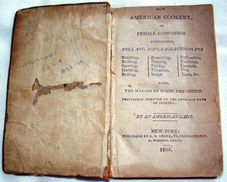 NEW AMERICAN COOKERY, OR FEMALE COMPANION. CONTAINING FULL AND AMPLE DIRECTIONS FOR ROASTING,...
