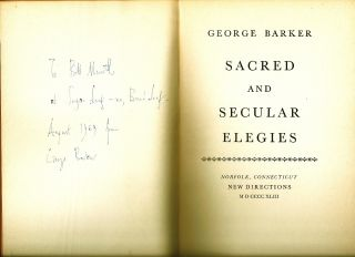 SACRED AND SECULAR ELEGIES. George BARKER