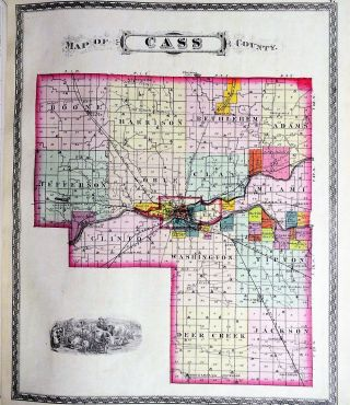 COMBINATION ATLAS MAP OF CASS COUNTY INDIANA. INDIANA