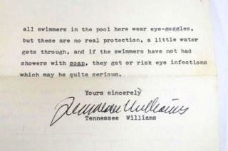 TYPED LETTER SIGNED (TLS). Tennessee WILLIAMS