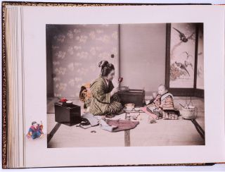 MEIJI PERIOD PHOTO ALBUM with 50 Hand-Colored Albumen Photographs