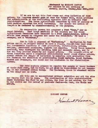DOCUMENT SIGNED (DS): Statement by HERBERT HOOVER for release to all editions of morning papers....