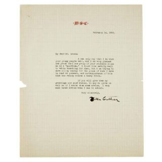 TYPED LETTER SIGNED (TLS). Willa CATHER