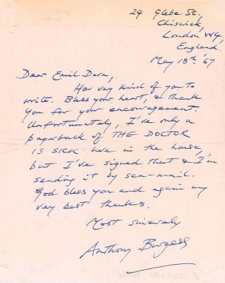 AUTOGRAPH LETTER SIGNED (ALS). Anthony BURGESS