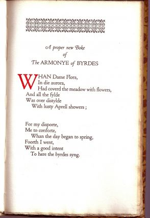 THE HARMONY OF BIRDS. A Poem Printed By John Wight In The Middle Of The Sixteenth Century And Now...