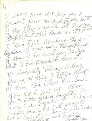 AUTOGRAPH LETTER SIGNED (ALS) of 4 pages. Louis ARMSTRONG
