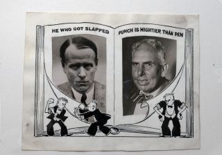 ORIGINAL NEWSPAPER ART Regarding the Famous Fight Between Lewis and Dreiser