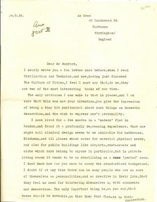 TYPED LETTER SIGNED (TLS) to Lewis Mumford; Auden Writes a Fan Letter to Lewis Mumford