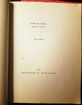 TYPED MANUSCRIPT of DAGGERS AND JAVELINS: Essays, 1974 - 1979. Amiri BARAKA, LeRoi JONES